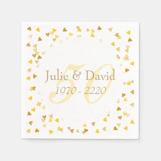 50. Hochzeitstag-goldener HerzenConfetti Papierservietten