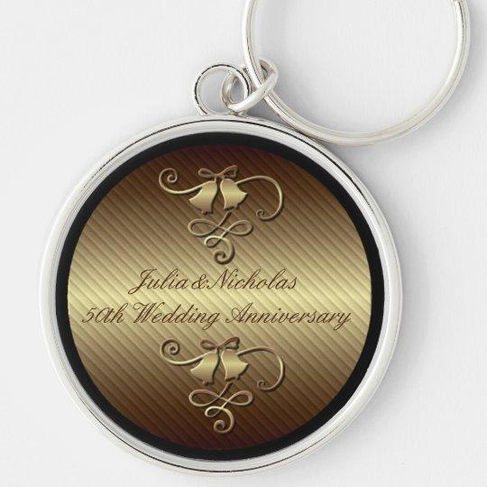 50. Hochzeitstag-Goldschlüsselkette Silberfarbener Runder Schlüsselanhänger