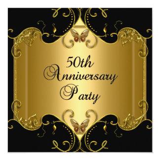50. Hochzeitstag-Goldschwarz-Schmetterling Quadratische 13,3 Cm Einladungskarte