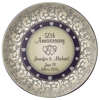 50. Hochzeitstag-Monogramm-Platte Porzellanteller