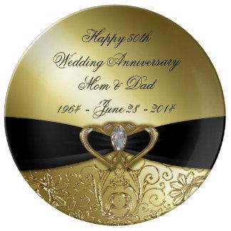 50. Hochzeitstag-Porzellan-Platte Teller Aus Porzellan