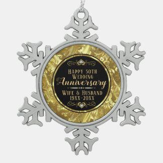 50. Hochzeitstag-Schwarzes u. Gold Schneeflocken Zinn-Ornament