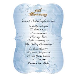50. Hochzeitstagversprechenerneuerungs-Blausatin Karte