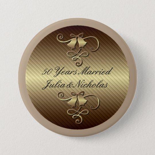 50 Jahre verheiratetes Goldpersonalisierte Knopf- Runder Button 7,6 Cm