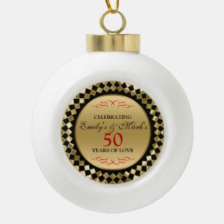 50. Jahrestags-Golddiamant-Rot-Wirbel Keramik Kugel-Ornament