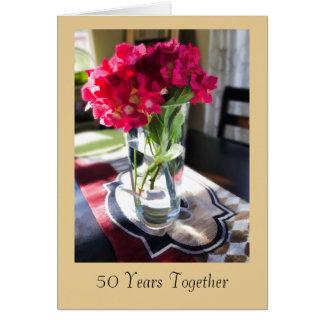50. Jahrestags-Gruß-Karte mit roten Blumen Karte