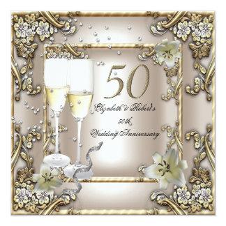 50. Jahrestags-Hochzeits-Creme-Goldlilie Quadratische 13,3 Cm Einladungskarte