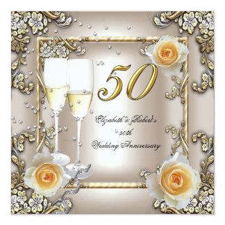 50. Jahrestags-Hochzeits-Creme-GoldRosen-Silber Quadratische 13,3 Cm Einladungskarte