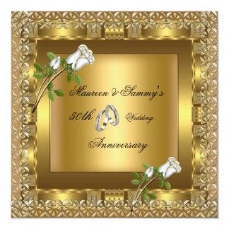50. Jahrestags-Hochzeits-Gold elegant Quadratische 13,3 Cm Einladungskarte
