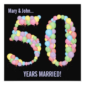 50. Jahrestags-Party steigt Einladung im Ballon