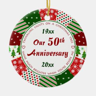 50. oder irgendein Jahr-Jahrestags-Geschenk Rundes Keramik Ornament
