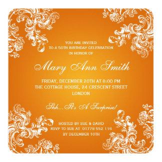 50. Orange des Geburtstags-Party-Vintage Wirbels-2 Quadratische 13,3 Cm Einladungskarte
