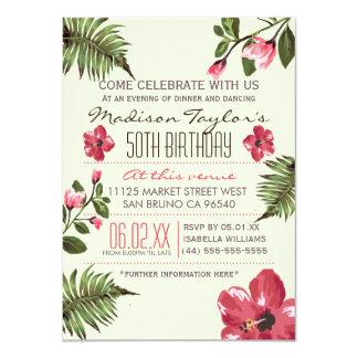 50. Party-exotischer Hibiskus u. tropische 11,4 X 15,9 Cm Einladungskarte