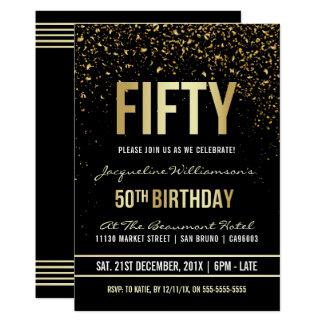50. Schimmernder GoldConfetti des 12,7 X 17,8 Cm Einladungskarte