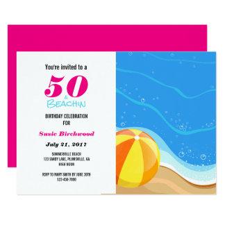 50 u. Beachin 50. Geburtstags-Einladung Karte