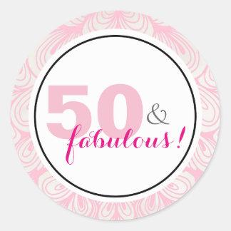 50 u. fabelhafte 50. Geburtstags-Aufkleber Runder Aufkleber