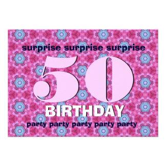 50 Überraschungs-Geburtstag rosa und blaues V24 Individuelle Einladungskarte