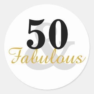 50 und fabelhafte 50. Geburtstags-Aufkleber Runder Aufkleber
