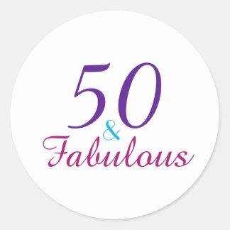 50 und fabelhafte bunte Geburtstags-Typografie Runder Aufkleber