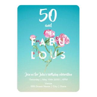 50 und FABELHAFTE   Geburtstags-Einladung Karte
