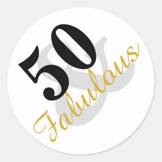 50 und fabelhafte Geburtstagsaufkleber Runder Aufkleber