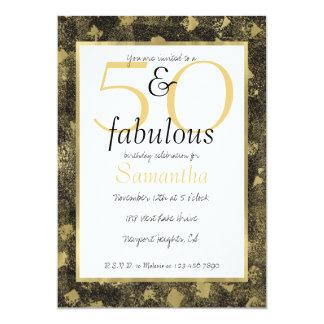 50 und fabelhaftes bezauberndes Goldschwarz-Party Karte