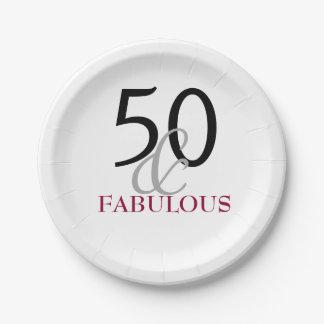 50 und fabelhaftes Geburtstags-Party-Papierplatte Pappteller 17,8 Cm