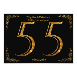 55. Geburtstags-Party, Gatsby styl, schwarzer 12,7 X 17,8 Cm Einladungskarte