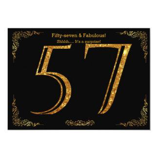 57. Geburtstags-Party, Gatsby styl, schwarzer 12,7 X 17,8 Cm Einladungskarte