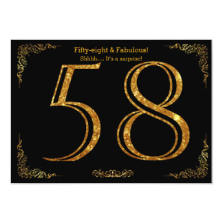 58. Geburtstags-Party, Gatsby styl, schwarzer 12,7 X 17,8 Cm Einladungskarte