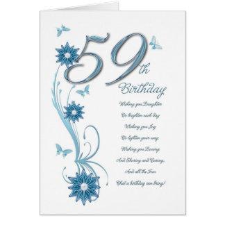 59. Geburtstag in aquamarinem mit Blumen und Karte