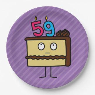 59. Geburtstags-Kuchen mit Kerzen Pappteller