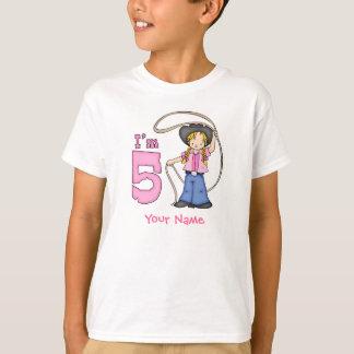 5. Geburtstag Cowgirl-Ropers personalisiert T-Shirt