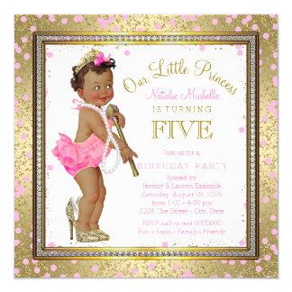 5. Geburtstag Party ethnischer Prinzessin- Quadratische 13,3 Cm Einladungskarte