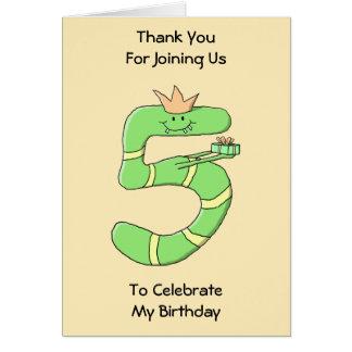 5. Geburtstags-Cartoon, grün Karte