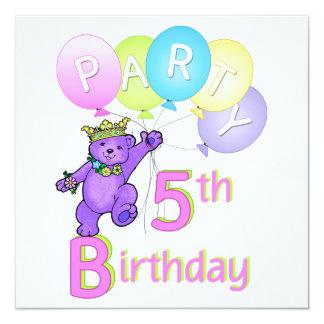5. Geburtstags-Party-Prinzessin Bear Balloons Quadratische 13,3 Cm Einladungskarte