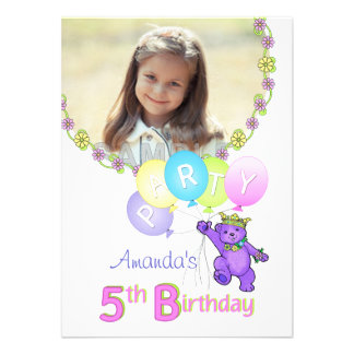 5. Geburtstags-Party-Prinzessin Bear Custom Foto Einladungskarte