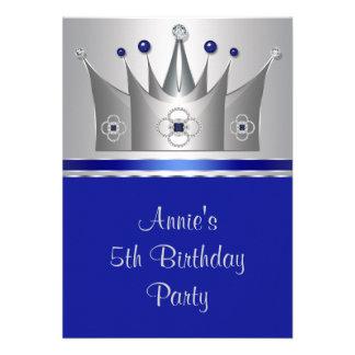 5 Geburtstags-Party Prinzessin-Crown Girls Personalisierte Einladungskarte