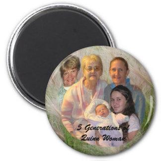5 Generationen Quinn-Frau Runder Magnet 5,7 Cm