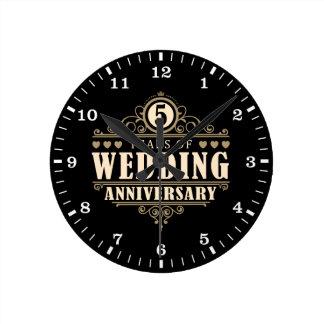 5. Hochzeitstag Wanduhr