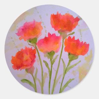 5 klare Watercolor-Blumen-Aufkleber durch Julie Runder Aufkleber