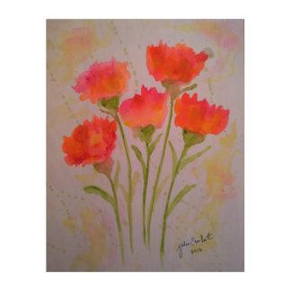 5 klare Watercolor-Blumen-hölzerne Wand-Kunst Holzwanddeko
