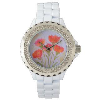 5 klare Watercolor-Blumen-Mode-Uhr durch Julie Armbanduhr