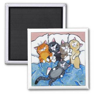 5 schläfrige Kätzchen - Katzen-Kunst-Magnet