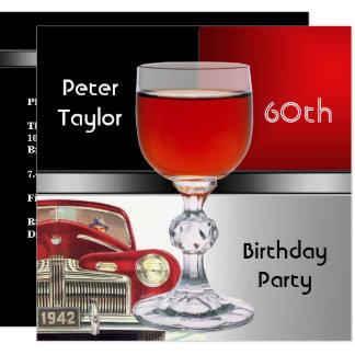 60. der Geburtstags-Mann rotes Metallsilber-der Karte
