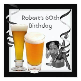 60. der Geburtstags-Party-Retro Mädchen PINUP Bier Quadratische 13,3 Cm Einladungskarte