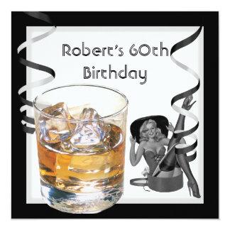 60. der Geburtstags-Party-Retro Mädchen PINUP der Quadratische 13,3 Cm Einladungskarte