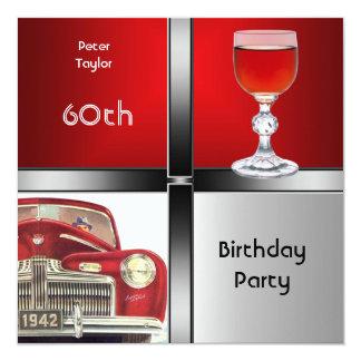 60. der Geburtstags-Party-rotes Quadratische 13,3 Cm Einladungskarte