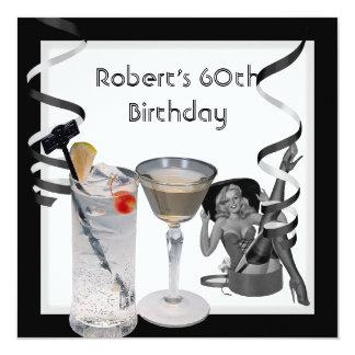 60. der Geburtstags-Party-trinkt Retro Mädchen Quadratische 13,3 Cm Einladungskarte