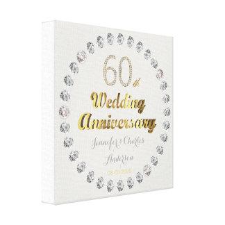 60. Diamant-Hochzeitstag-Goldtypographie Leinwanddruck